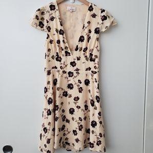 Aritzia Rand Cream Floral Mini Dress w/ Open Back